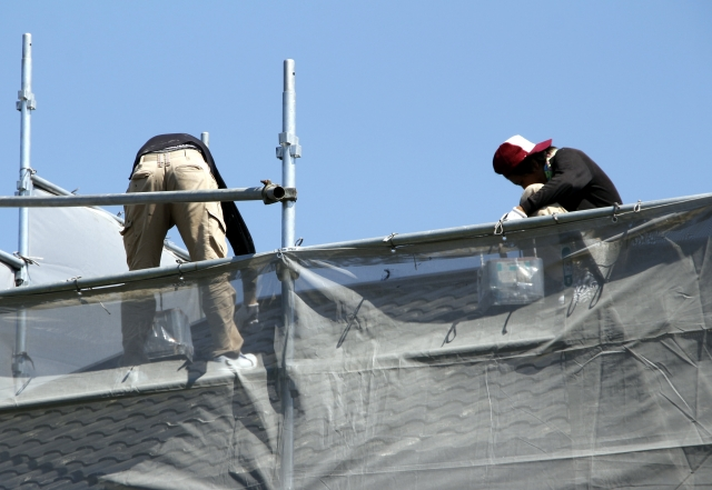 屋根の工事中